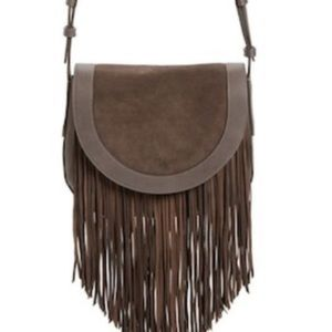 Frye Fringe Saddle Bag Chocolate